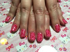 Gelish Stamped with Red Hearts
