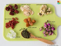 "Make a luxurious pot of Chinese ""ba bao cha"" (八宝茶) with 8 ingredients - jasmine tea, ginseng, chrysanthemum, rose buds, rock sugar, longan, red dates and wolfberries."