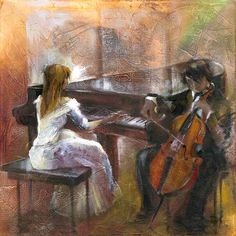 """Music Room"" -- by Lena Sotskova (b.1963, Russian)"