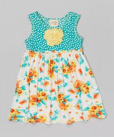 Another great find on #zulily! Mint & Orange Polka Dot Rose Dress - Toddler & Girls #zulilyfinds