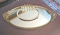 Vintage mirrored vanity tray and lipstick holder for sale at More Than McCoy on TIAS!