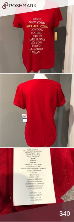 MMK 100% Cotton Tee RED/White/Gold XL. NWT MMK 💯% Cotton Tee RED/White/Gold XL  ❎NO TRADES. MICHAEL Michael Kors Tops Tees - Short Sleeve