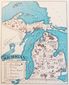 Michigan - Retro Michigan Map - Vintage State Picture Map - Ann Arbor - East Lansing - A Fun and Funky Vintage Picture Map