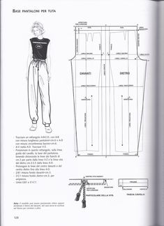 Base pantoloni per tuta. Free Printable Sewing Patterns, Dress Sewing Patterns, Clothing Patterns, Fashion Sewing, Diy Fashion, Fashion Outfits, Sewing Pants, Modelista, Pants Pattern