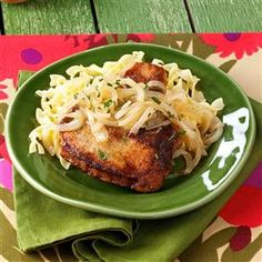 "Marsala Pork Chops Recipe -""My dear friend served this to my husband and me, knowing that we enjoy onions and garlic. After receiving our many compliments, she was kind of enough to share the recipe.""—Jan Huntington, Painesville, Ohio"