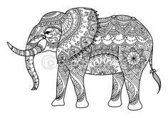 Éléphant de Mandala dessin au trait