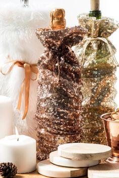 Blush Sequin Wine Bag-  gift-cl