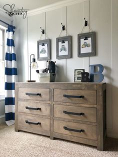 DIY Modern Farmhouse 6 Drawer Dresser! Free Plans and how-to video at www.shanty-2-chic.com #shanty2chic Cute Dorm Rooms, Cool Rooms, Chambre Nolan, Diy Casa, My New Room, Diy Furniture, Boys Bedroom Furniture, Furniture Dolly, Furniture Stores