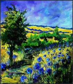 blue cornflowers in mahoux, painting by artist ledent pol