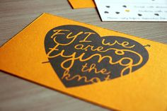 Funny yellow printable wedding invitation suite with hearts/ engagement invitations/ FYI we are tying the knot. $46.00, via Etsy.