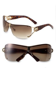 Gucci Shield Sunglasses with Crystal Logo Detail available at #Nordstrom