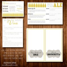 Printable Beer and Wine Tasting Party Pack Beer Tasting Parties, Wine Parties, Make Your Own Beer, Grown Up Parties, Wine Drinks, Beverages, Wine Signs, Cheese Party, Wine And Beer