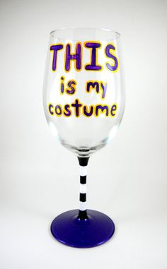 Costume party hand painted wine glass by ImpulsiveCreativity, $20.00