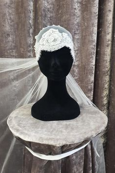 Beautiful Chantily lace used to make this Skull cap #veil.  Ivory or white. Different lengths available for the actual veil. Online and in Store sales. Bridal by Tamem Michael, Wedding Veils, Belts, Accessories Online Shop, Dublin, Ireland.