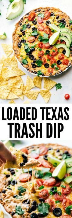 Texas Trash Dip Loaded Texas Trash dip is the classic warm bean dip that gets loaded with corn, olives, black beans, and ooey gooey cheese! This dip will be the hit at your next party!Texas Rangers Texas Rangers may refer to: Appetizer Dips, Yummy Appetizers, Appetizer Recipes, Dip Recipes, Mexican Food Recipes, Cooking Recipes, Mexican Dips, Recipies, Party Recipes