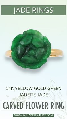 This carved green jade flower is a dainty but a beautiful ring. Beautifully carved with marbled shades of green and set with on a 18k yellow gold shank. Finger size 7. Use discount code INSTA10JORDAN at checkout! Aesthetic Vintage, Jade, Carving, Yellow, Rings, Green, Gold, Wood Carvings, Ring