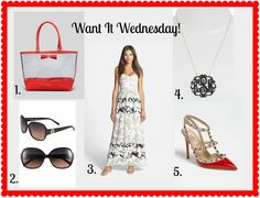 It's Want It Wednesday at www.alittleglitter.com!  Join me for some cyber window shopping!  My choices today are black, vamp, sexy and New York inspired.  Valentino Rockstud Pumps, the Kate Spade Francis Tote, Tory Burch Sunnies, Parker Maxi Dress and a Moon and Lola Pendant.