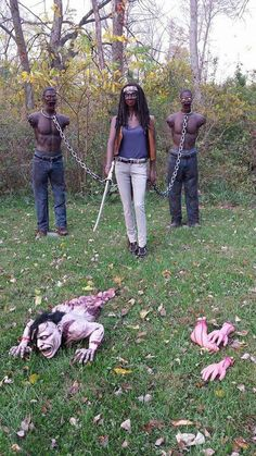 Ami and Stan's homemade Michonne and pets (The Walking Dead) prop for Halloween 2014
