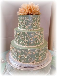 Sage Green Round Wedding Cake - This is my first official wedding cake order.  The topper is made from white chocolate and the cakes are iced with swiss meringue buttercream icing.
