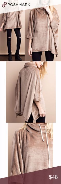 STASSIE oversized fleece poncho top - MOCHA Super soft fleece poncho, oversized fit. Drawstring neck.   100% polyester  MADE IN USA  AVAILABLE IN BLACK OR MOCHA.  NO TRADE, PRICE FIRM Bellanblue Tops