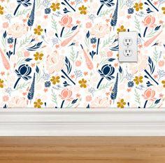 Fond d'écran amovible - désert Floral Design, papier peint repositionnable, amovible, tissé, marine corail menthe or papier peint Floral par modifiedtot sur Etsy https://www.etsy.com/fr/listing/244297564/fond-decran-amovible-desert-floral