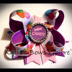 Purple candy bow #bow #hairbow #purple #candy