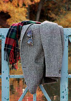 Tweed, tartan, and shades.