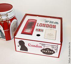 Чайная шкатулка Лондон. Шкатулка для чайных пакетиков , внутри ничем не обработана .