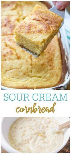 Sour Cream Cornbread, Cornbread Cake, Cornbread Casserole, Homemade Cornbread, Side Dish Recipes, Snack Recipes, Cooking Recipes, Bread Recipes, Side Dishes