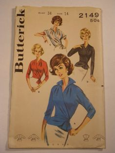 Vintage 60s Wrap-Around Blouse Butterick 2149 B34 Uncut 22+2 1/21/14 missed