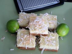 America's Test Kitchen Key Lime Bar Recipe- doubled to fit a 9X13 and it worked perfectly