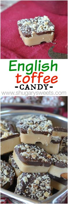 Toffee Homemade English Toffee candy: it's the perfect treat.with almonds and walnuts!Homemade English Toffee candy: it's the perfect treat.with almonds and walnuts! Candy Recipes, Sweet Recipes, Dessert Recipes, Holiday Baking, Christmas Baking, Chocolates, Toffee Candy, Toffee Bars, Shugary Sweets