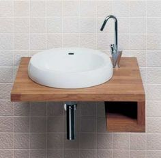 Wall mounted sink for powder room
