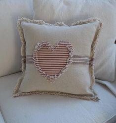 Heart Pillow Grain Sack Pillow Ticking Heart Frayed Edge Pillow Sham Custom Sizes and Fabrics Insert Pumpkin Pillows, Burlap Pillows, Sewing Pillows, Decorative Pillows, Throw Pillows, Heart Cushion, Heart Pillow, Neck Pillow, Easter Pillows