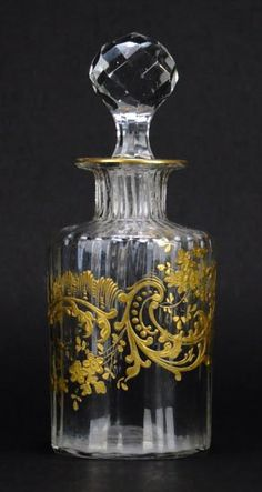 Antique French Baccarat Decanter - hand blown with gold trim; circa 1920