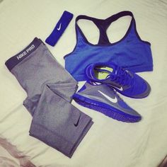 grey nike pro leggings and royal blue sports bra and tennis shoes workout wear athletic clothes running weight lifting yoga cute