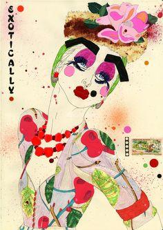Exotically John Galliano illustration by Sarah Beetson Illustration Sketches, Illustrations Posters, Fashion Illustrations, Illustration Fashion, Fashion Sketches, Illustration Techniques, Fashion Drawings, Fashion Art, Fashion Design Template