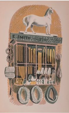 #Eric #Ravilious E. Smith, #saddlers & harness makers  Original 1938 #lithograph #modern #british #art #LLFA