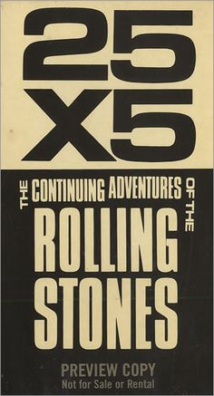 For Sale - Rolling Stones 25 X 5 The Continuing Adventures Of The Rolling Stones USA Promo  video (VHS or PAL or NTSC) - See this and 250,000 other rare & vintage vinyl records, singles, LPs & CDs at http://eil.com