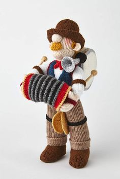 Ravelry: One-Man Band pattern by Alan Dart Yarn Dolls, Knitted Dolls, Crochet Dolls, Knit Crochet, Crochet Dog Patterns, Craft Patterns, Knitting Patterns, Art And Hobby, Knitted Animals