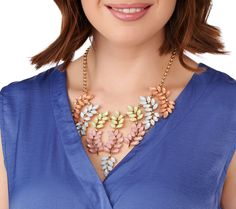 Branch out from your simple pendants and chains with this Susan Graver goldtone statement necklace. QVC.com