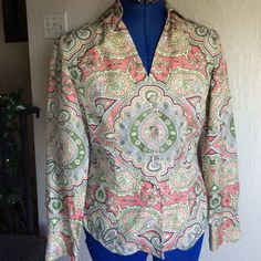Silk Ann Taylor blouse Covered buttons, pretty paisley pattern, 2 petite Ann Taylor Tops Blouses