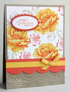 Elaine's Creations: Stippled Blossoms Scalloped Birthday Card
