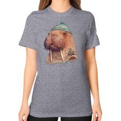 Tattooed Walrus Unisex T-Shirt (on woman)