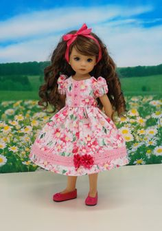 Pink Gerber Daisies dress for Dianna Effner Doll