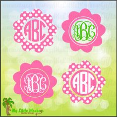 Flower Frame Monogram Base Designs Digital Clipart Instant Download Full Color Jpeg, Png, SVG, DXF EPS Files - pinned by pin4etsy.com
