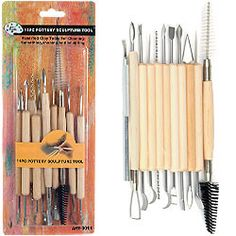 An 11-Piece Set of Pottery and Sculpture Tools ideal for anycreative project. The tools are made of metal, with wood handles for an easygrip. Each tool has two shaped heads (one on each end) providing a variety ofdifferent carving shapes to give you more flexibility for your designs. Theyare idea...