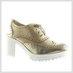 Angkorly - damen Schuhe Brogue Schuh - Plateauschuhe - Perforiert - glänzende Keilabsatz high heel 7.5 CM - Gold BL201 T 40 - Schnürhalbschuhe für frauen (*Partner-Link)