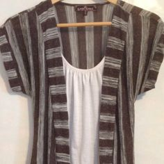 Just in brown gray and white top Lightweight top with tank top attached great condition only worn a few times Almost Famous Tops Tees - Short Sleeve
