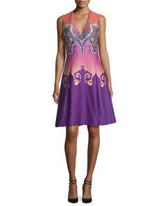 Etro Paisley Ombre V-Neck Dress, Purple/Pink